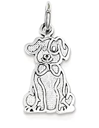 IceCarats 14k White Gold Puppy Pendant Charm Necklace Animal Dog