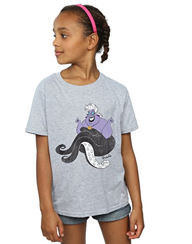 Disney Girls The Little Mermaid Classic Ursula T-Shirt 7-8 Years Sport Grey (Ursula Mermaid)
