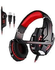 Auriculares Gaming Cascos Gaming Juego Headset Headphone con Micrófono con 3.5mm Jack Reducción de Sonido Estéreo para Compatible con PS4/PC/Xbox One/Nintendo Switch/Móvil Rojo (Tiene un Adaptador) …