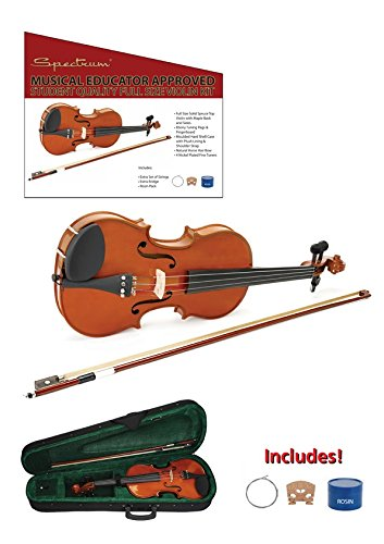 Spectrum AIL 201V Full Size Music Educator Approved Violin Pack with Case and Accessories (Spectrum Wood)