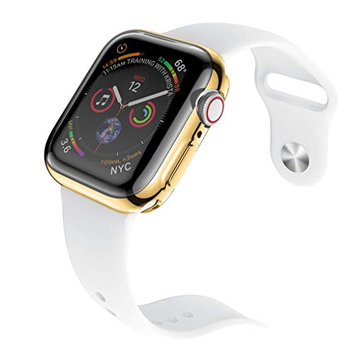 Hanku2PC Electroplate TPU Screen Protector Case Cover for Apple Watch Serie 4 40mm/44mm (Gold, 44mm)