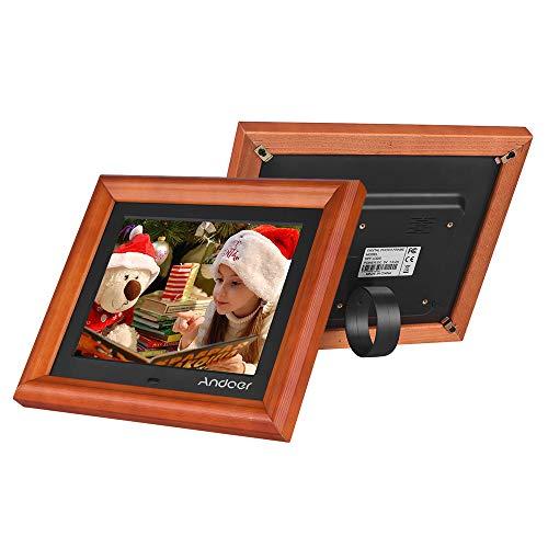 Leslaur Andoer 8 Inch Large Screen LED Digital Photo Frame Desktop Album 1280 800 HD Wooden Rim Supports Music/Video/Photo/Clock/Calendar Functions with Remote (Best Andoer Mp3 Speakers)
