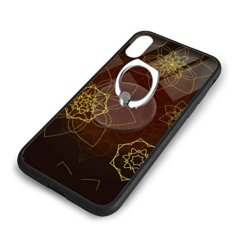 iPhone X Plus Cover Mandala Clip Art Case with Finger Ring Stand XS Phone Kickstand Holder Shock Protective Basic Protector]()
