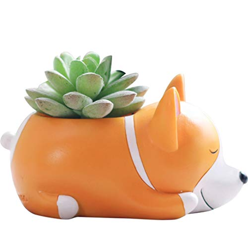 Flower Pot,YJYdada Lovely Corgi Dog Shaped Plant Decor Succulent Plants Decorative Flower Pot (C)