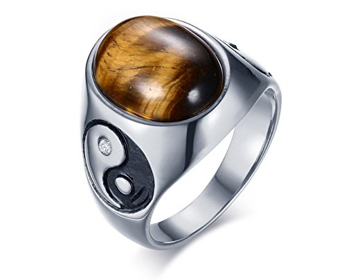 Star Oval Shape Ring - Stainless Steel Vintage Tai Chi Yinyang Oval Gemstone Ring Bands for Men Women,Size 10