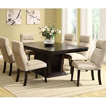 Homelegance Avery 7 Piece Pedesatal Dining Room Set In Espresso