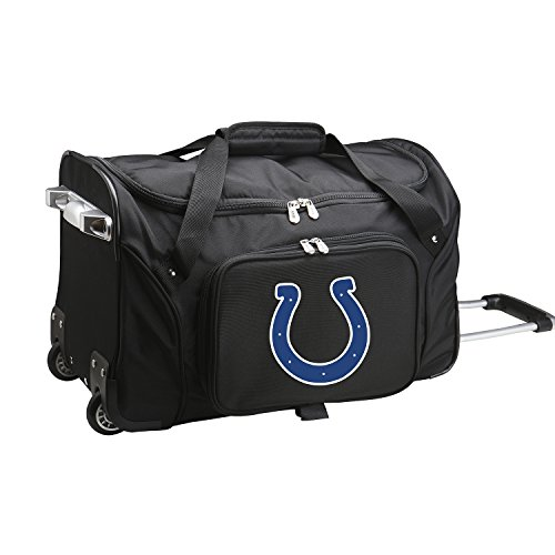 NFL Indianapolis Colts Wheeled Duffle Bag, 22 x 12 x 5.5, Black ()