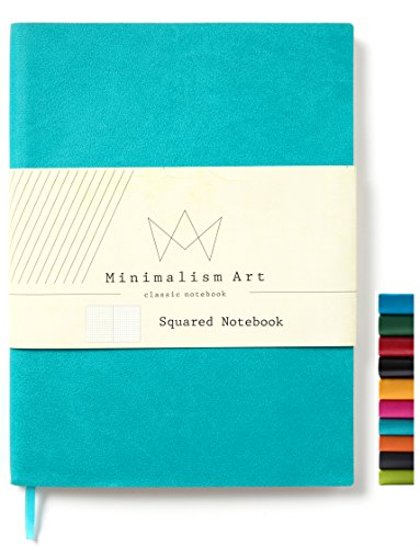 Minimalism Art, Soft Cover Notebook Journal, A5 Size 5.8 X 8.3 inches, Squared Grid Page, 176 Pages, Fine PU Leather, Premium Thick Paper-100gsm,Ribbon Bookmark, Designed in San Francisco (Blue) ()