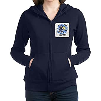 Royal Lion Women's Zip Hoodie (Dark) Halloween Witch Riding Broom Bats - Navy, Medium