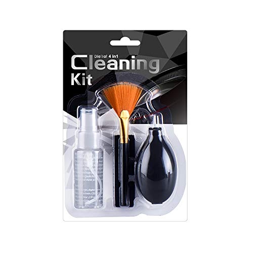 4 In 1 Professional Cleaning Kit Bundle Set For DSLR Camera Lenses And Electronic Device Screens, Micro-Fiber Cloth, Anti-Static, Fan Shaped Brush, Air Blower