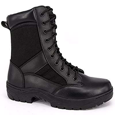 WIDEWAY Men's 8'' Inch Military Tactical Boots Full Grain Leather Police Duty Water Resistant Boots with Side Zipper: Shoes