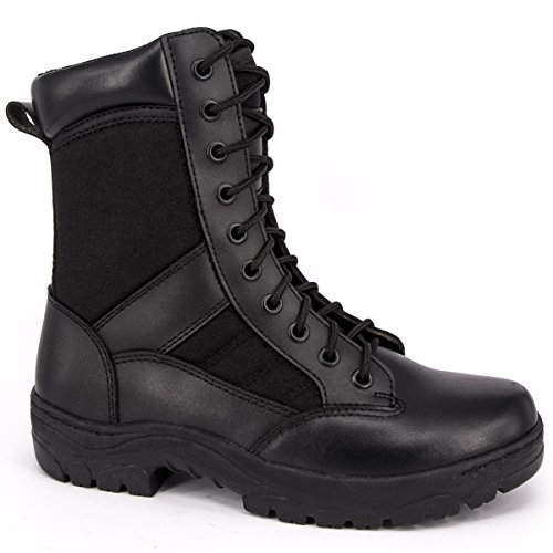 - WIDEWAY Men's 8'' Inch Military Tactical Boots Full Grain Leather Police Duty Water Resistant Boots with Side Zipper, Black