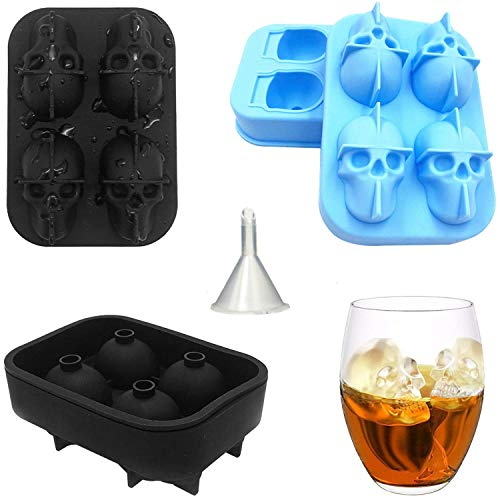 3D Skull Ice Mold-2Pack With funnel, vimbo 8 Flexible Silicone Ice Tray with Lid for Whiskey Cocktails Cold Drinks Good for Party Hot Summer]()