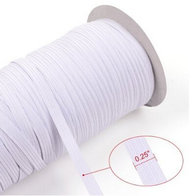 DDN White 80-Yards Length 6MM(approx. 1/4) Width Braided Elastic Cord/Elastic Band/Elastic Rope/Bungee/White Heavy Stretch Knit Elastic Spool (white) DAY DAY NICE 4337000326