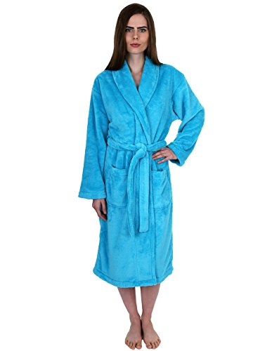 TowelSelections Women's Super Soft Plush Bathrobe Fleece Spa Robe Large/X-Large Peacock Blue