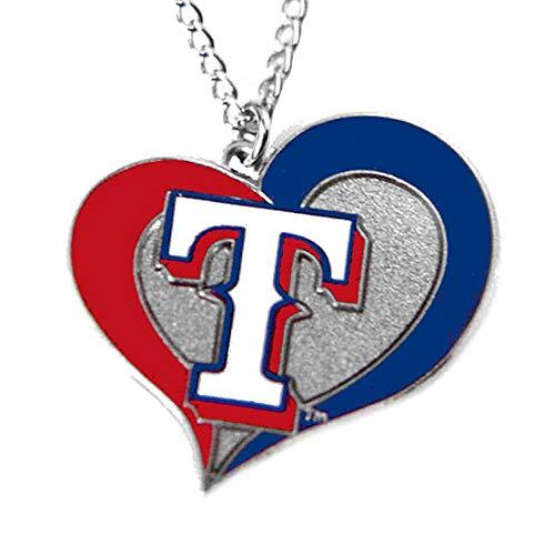 (aminco MLB Texas Rangers Swirl Heart Necklace)