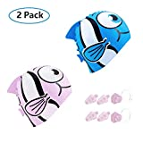 COOLOO Swim Caps Kids [Pack of 2] – Swimming Cap for Child Girls Boys Kids Teens with Short Long Curly Hair Braids Dreadlocks – 100% Silicone Bathing Waterproof Swim Hat with Nose Clips & Ear Plugs