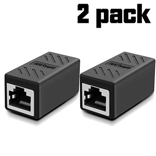 Network Coupler, RJ45 Coupler, Ethernet Cable Coupler Cat7 Cat6 Cat5e cat5 Ethernet Cable Extender Adapter, Ethernet Female to Female (Black-2 Pack)