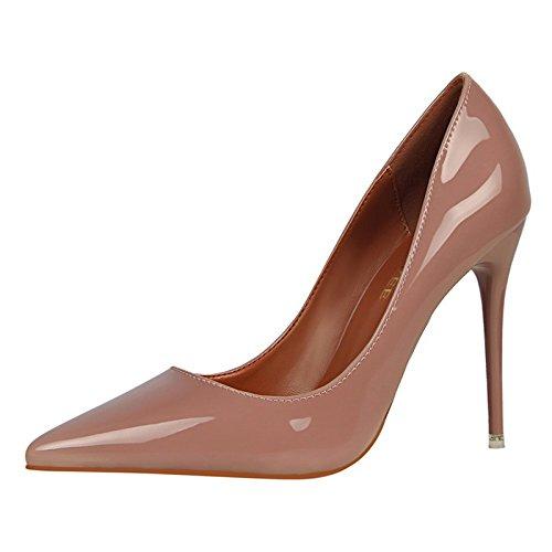 YMFIE Simple de Estilo Europeo Moderno Laca Brillante señaló tacón Sexy señoras Solo Zapatos cómodos Zapatos de Trabajo'. Violet