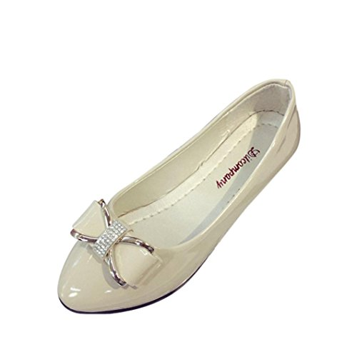Women-Round-Toe-Ladise-Shoes-Casual-Bowknot-Rhinestone-Low-Heel-Flat-by-TOPUNDER