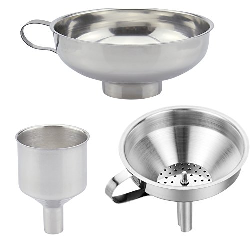 3 Pieces Funnel Durable Stainless Steel Kitchen Funnels with Strainer-Ideal for Transferring of Spices Liquid Powder Bean jam Canning Dishwasher Safe Funnels ()
