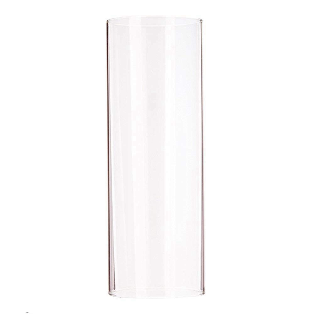Candle Glass Chimney Open Ended Straight Cylinder Clear Glass Lamp Shade Open 2.8 Height 6 (H6) SGLED