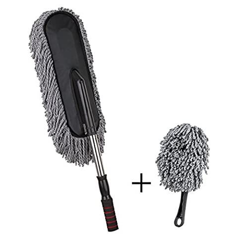 NO.1 Premium Car and Home Duster, Doace 2 Pieces Multipurpose Car Dust Brush with Telescopic Handle - Cars Exterior Accessories