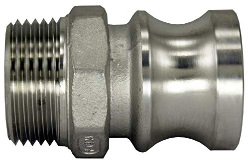"""Duda Energy CamPlug-M050 304 Stainless Steel Cam-and-Groove Pipe Fitting Adapter 1/2"""" Cam Lock Plug x 1/2"""" Male NPT Sus304 SS304, 0.5"""" ID, Stainless Steel"""