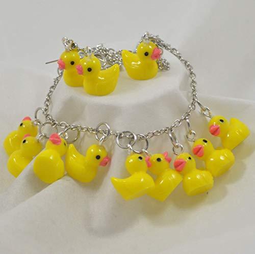 Cute Yellow Rubber Duck Duckie Earrings Necklace and Bracelet Set