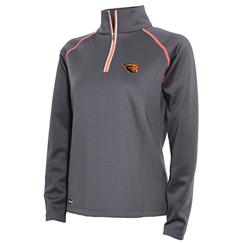 NCAA Oregon State Beavers Women's 1/4 Zip Tech Interlock Pullover, Medium, Carbon/Varsity Orange
