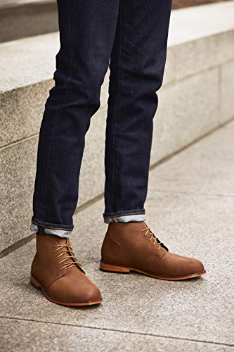 Nisolo Men's Emilio Genuine Leather Lace Up Casual Chukka Boot with Leather Sole