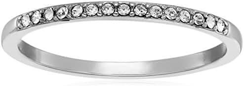 Rhodium Plated Sterling Silver White Swarovski Crystal Ring