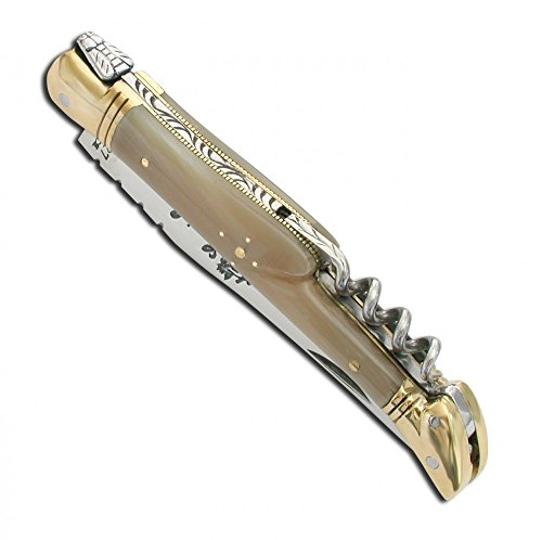Laguiole pocket knife with Blonde Horn handle and brass bolsters, corkscrew - Closed size - 11 cm direct from France by Laguiole Actiforge
