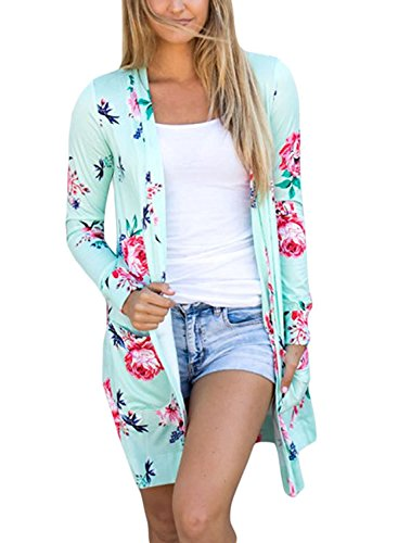 LiMiCao Women Floral Print Long Sleeve Wrap Kimono Cardigan Blouse With Pocket (M, (Floral Long Sleeve Cardigan)