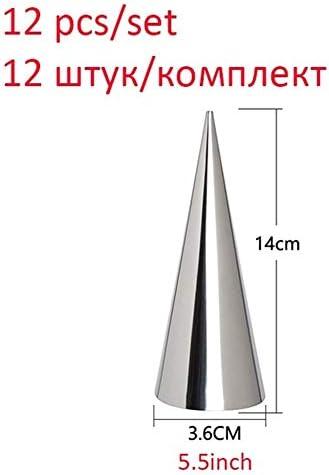 12PCS /セットカンノーロチューブ、ステンレス鋼のクリームホーン金型、ノンスティックカンノーロ形状、円錐ケーキ型 (Color : C 14cm 12pcs)
