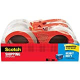 """Scotch Heavy Duty Shipping Packaging Tape with Refillable Dispensers, 3"""" Core, 1.88"""" x 54.6 yd, 4 Pack (3850-4RD)"""