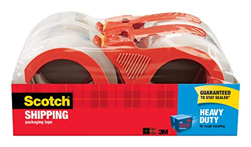 "Scotch Heavy Duty Shipping Packaging Tape with Refillable Dispensers, 3"" Core, 1.88"" x 54.6 yd, 4 Pack (3850-4RD)"