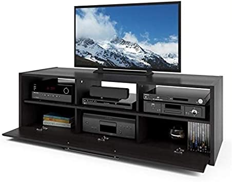 Atlin Designs TV Component Bench in Wood Grain Black