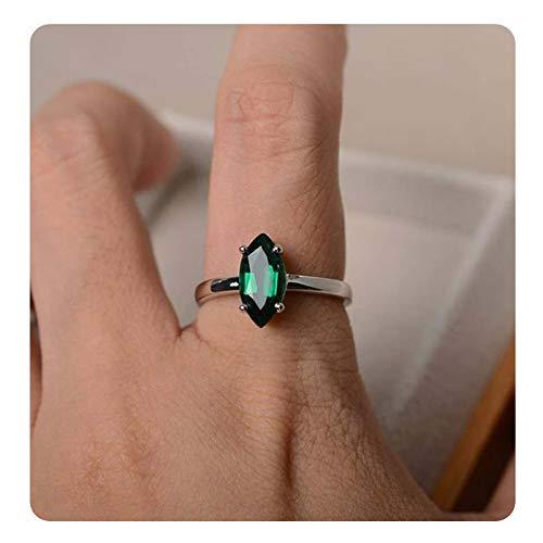 Dabangjewels Beautiful Women's Marquise Cut Created Emerald & Diamond 14k White Gold Plated Wedding Ring for Women's