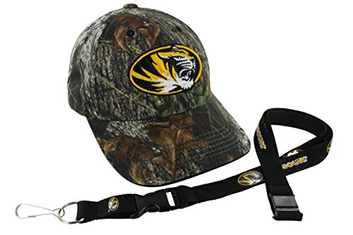 Who's In Mossy Oak NCAA College Camo Hat and Team Color Lanyard (Missouri Tigers) by TruFan