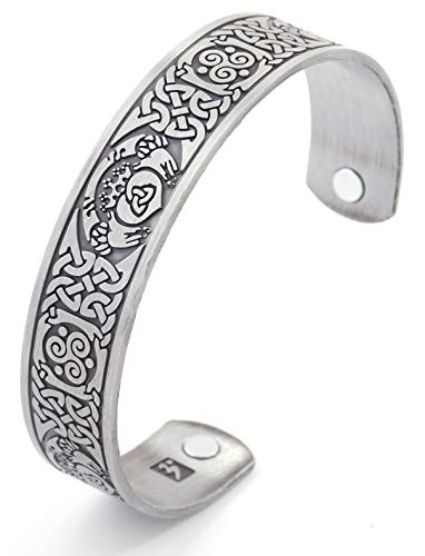 My Shape Celtic Knot Claddagh Bracelet Magnetic Therapy Health Cuff Bangle Gift Jewelry for Women/Men