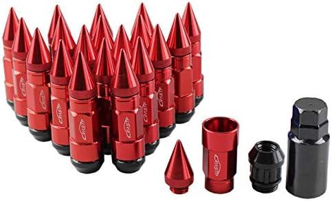 1.5, red RASTP Anti Theft Racing Car Tires Spike Lug Nuts,JDM Sytle Anodized Universal Wheel Lug Nuts