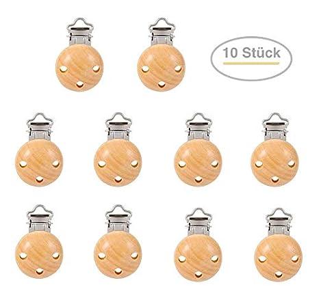 5 Schnullerclipse Holz Schnullerclip Schnullerketten EN 71 Clipse Holz Metall