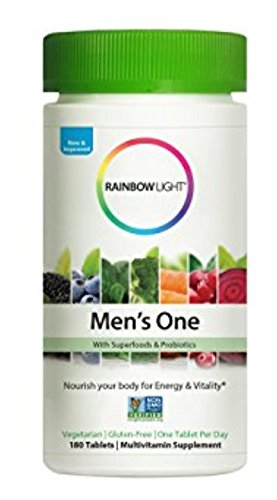 Rainbow Light - Men's One Multivitamin Non-GMO Bonus Size - Plus Superfoods, Probiotics, and Plant-Source Enzymes; Vegetarian and Gluten Free - 180 Tablets (Light Plus Rainbow)