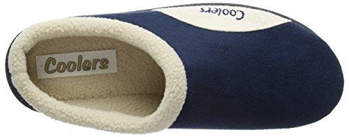 Mens Kühler Marke warmen Fleece Microsuede Two Tone Schlupf auf Maultier Clog Slipper 361 Navy