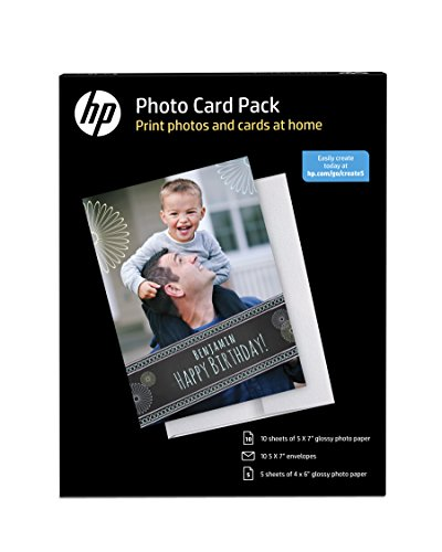 HP Photo Card Kit with 10 sheets of 5x7-Inch Glossy Photo Paper and Envelopes and 5 Sheets of 4x6-Inch Glossy Photo Paper