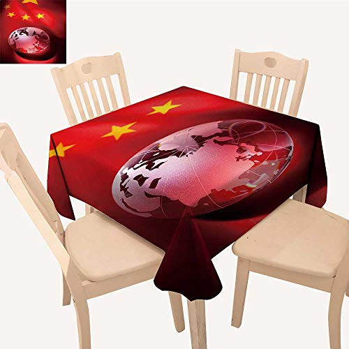UHOO2018 Square/Rectangle Indoor and Outdoor Tablecloth Globe China Flag Restaurant Party,50x - Magnet Rectangle China