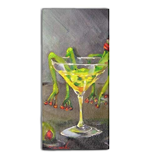 Drunk Frog Printed Guest Hand Towels Fingertip Towels Super Absorbent Washcloth 11.8 × 27.5