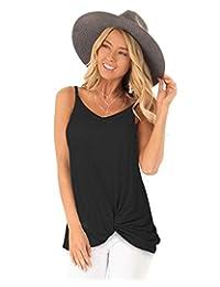 720ad05042 LANISEN Women Cotton Yoga Tank Top Criss Cross Knot Spaghetti Strap Cami  Tops with V Back