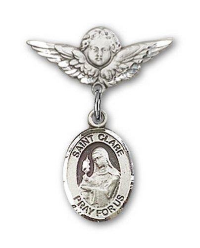 Icecarats Créatrice De Bijoux En Argent Sterling St. Claire D'Assise Pin Badge Charme D'Ange 7/8 X 3/4